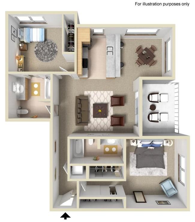 2 Bedroom 2 Bath Silver Apartment 1060 sq. ft.